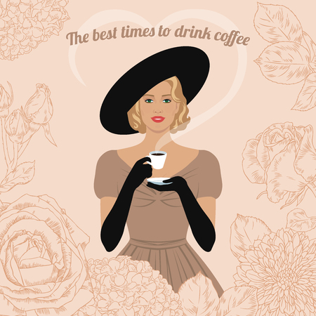 elegant woman: Elegant woman with cup of coffee in her hand. The best time to drink coffee. Vintage poster, card, invitation. Illustration