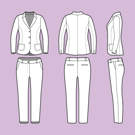 garments: Women s clothing set. Blank template of classic blazer and pants in front, back and side views. Casual style.