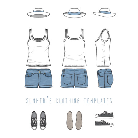 illustration of women s clothing set - white basic top, jeans shorts, hat, sneakers. Blank templates in front, back, side views for fashion design. Isolated on white background.