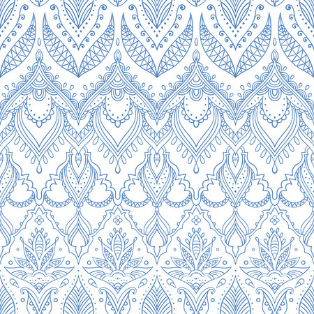 Ethnic background. Seamless pattern in white and blue colors. Vector illustration can be used for fashion textile, wallpaper or wrapping paper. Indian, moroccan, arabic style.