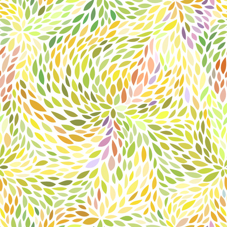 Abstract seamless pattern. Floral background in yellow and green color tones. Vector illustration with leaves can be used for fashion textile, wrapping paper, wallpaper, fabric prints.