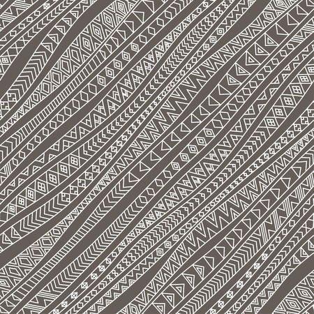 hand outline: Tribal seamless pattern. Vector illustration in gray color and white  contour lines. Freehand diagonal wavy stripes with outline ethnic ornaments. Linear doodle, hand drawn zentangle background.
