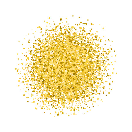 Glitter texture. Golden round. Isolated on white background.