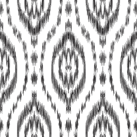 Vector Ikat seamless pattern. Hippies print. Stylish ethnic backdrop. Scribble effect. Boho chic style. Hipster design.