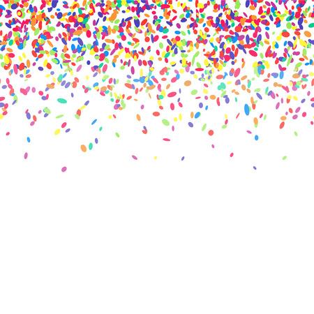 カラフルな紙吹雪抽象的な背景。多くの立ち下がり振りかけるのベクター イラストです。シームレスなボーダー パターン。白で隔離。