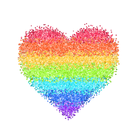 Glitter rainbow heart. Cute symbol of Valentines Day. Romantic concept. Love sign. Colorful vector illustration for cards, posters, banners, wedding design invitations. Isolated on white background. Illustration