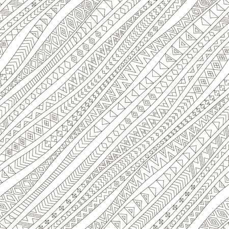 Tribal seamless pattern. Vector illustration. Diagonal wavy stripes with outline ethnic ornaments. Linear doodle, hand drawn zentangle background. Monochrome print. Illustration