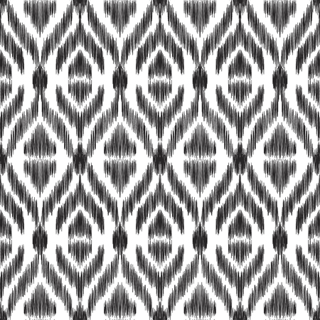 Vector illustration of the black and white colored ikat ornamental seamless pattern.  Scribble textured effect.  イラスト・ベクター素材