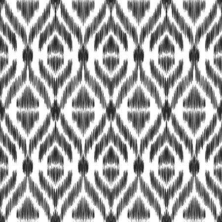 Ilustración del vector del patrón inconsútil ornamental del ikat coloreado blanco y negro. Efecto de textura de garabato. Foto de archivo - 76698425
