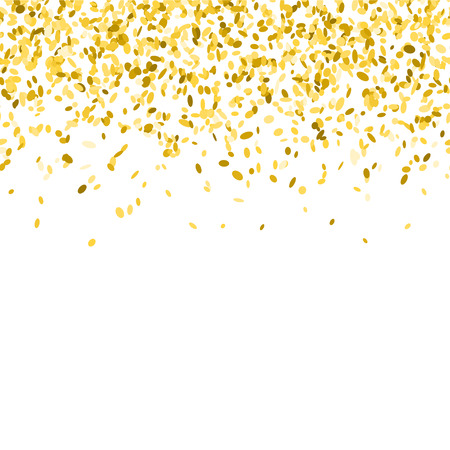 Abstract background with golden confetti. Vector illustration of many falling sprinkles. Seamless border pattern. Isolated on white. Ilustração