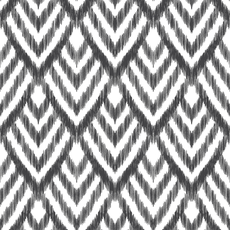 textured effect: Vector illustration of the black and white colored ikat ornamental seamless pattern. Chevron design with scribble textured effect. Illustration