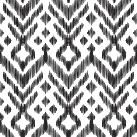 textured effect: Vector illustration of the black and white colored ikat ornamental seamless pattern. Scribble textured effect. Fashion design in ethnic style.