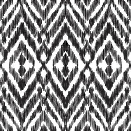 textured effect: Vector illustration of the black and white colored ikat ornamental seamless pattern. Chevron design. Scribble textured effect. Illustration