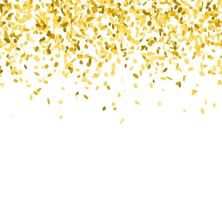 抽象的な背景金色の紙吹雪。多く飛んで振りかけるのベクター イラストです。シームレスなボーダー パターン。白で隔離。 写真素材