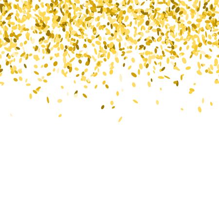 Abstract background with golden confetti. Vector illustration of many flying sprinkles. Seamless border pattern. Isolated on white. Banco de Imagens