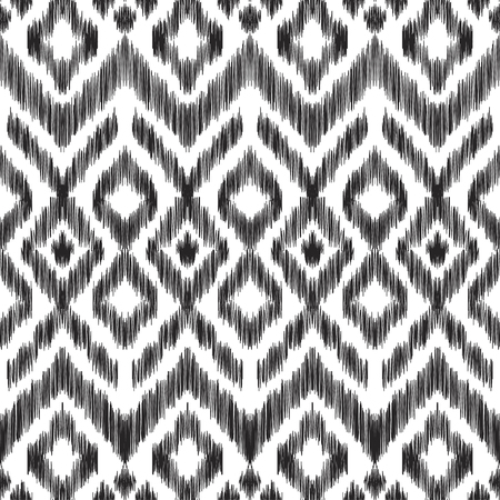 textured effect: Vector illustration of the black and white colored ikat ornamental seamless pattern. Chevron design. Scribble textured effect. Ethnic style. Stock Photo