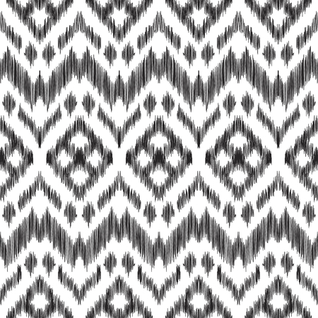 textured effect: Vector illustration of the black and white colored ikat ornamental seamless pattern. Chevron design. Scribble textured effect. Fashion print in ethnic style.