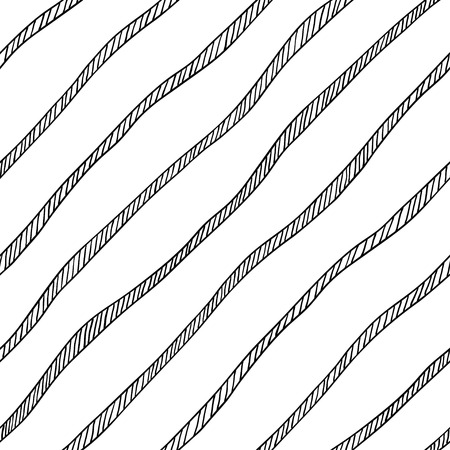 diagonal stripes: Vector seamless pattern. Abstract wallpaper with diagonal stripes, ropes, cords. Hand drawn illustration in black and white colors. Can be used for cloth design, fashion textile, prints. Illustration