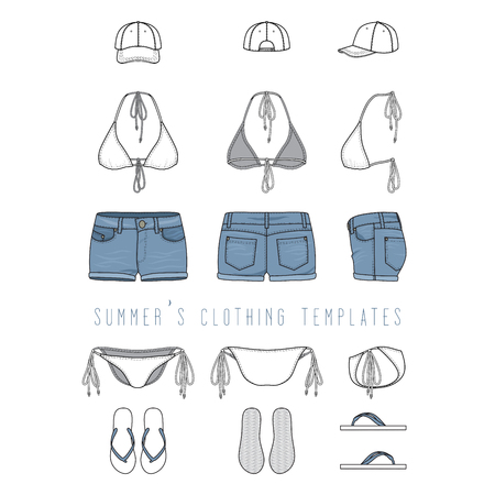 Vector illustration of female beach clothing set - bikini swimwear, jeans shorts, cap, footwear. Blank vector templates in front, back, side views for fashion design. Isolated on white background.