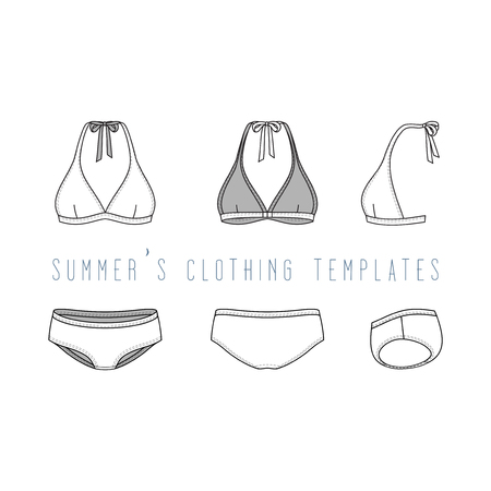 brassiere: Vector illustration of female beach clothing set. Blank vector templates of swimwear in front, back, side views. Fashion design in hipsters style. Isolated on white background.