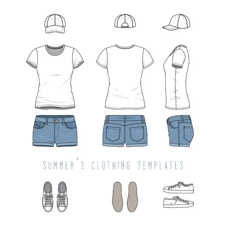 sportswear: Vector illustration of female casual clothing set - white tee shirt, jeans shorts, baseball cap, footwear, sneakers. Blank vector templates in front, back, side views. Isolated on white background. Illustration