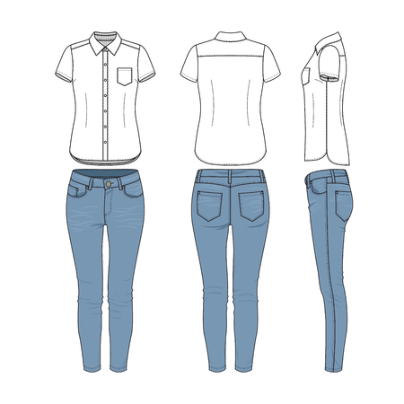 Female clothing set of white shirt and blue jeans. Vector templates in front, back, side views for fashion design. Isolated on white background. Illustration