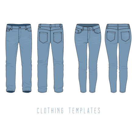 chinos: Male and female clothing set of blue jeans. Vector templates in front, back views for fashion design in urban style. Isolated on white background. Illustration