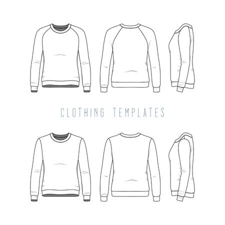 基本的なトレーナー、ラグラン セーターの女性の服のセットです。ファッション スポーツの制服のイラスト。ブランクのベクトル テンプレートでフロント、バック、サイド ビュー。白い背景上に分離。