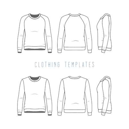 Female clothing set of basic sweatshirt and raglan sweater. Fashion illustration of sports uniform. Blank vector templates in front, back, side views. Isolated on white background.