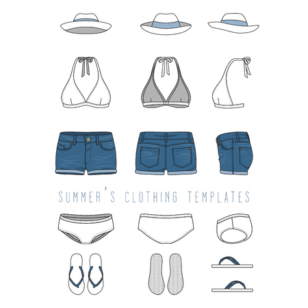 brassiere: Vector illustration of female beach clothing set - bikini swimwear, jeans shorts, hat, footwear. Blank vector templates in front, back, side views. Isolated on white background. Stock Photo