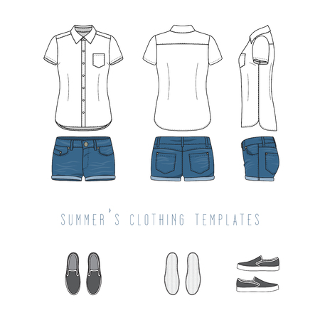 Female clothing set of blue jeans shorts, white shirt, grey canvas shoes. Vector templates in front, back, side views for fashion design. Isolated on white background.