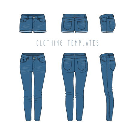 chinos: Female clothing set of blue jeans and denim shorts. Vector templates in front, back, side views for fashion design in urban style. Isolated on white background.