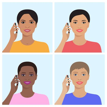 companionship: Vector set of attractive indian, asian, european, african american women talking on the mobile phones. Vector illustration of beautiful women. Flat design.