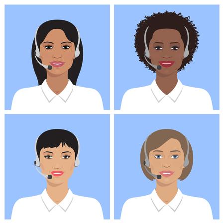 헤드셋에 다른 나라의 콜 센터 운영자의 벡터 집합입니다. 벡터 비즈니스 플랫 그림입니다. 유럽, 아시아, 아프리카 계 미국인, 인도 여성.