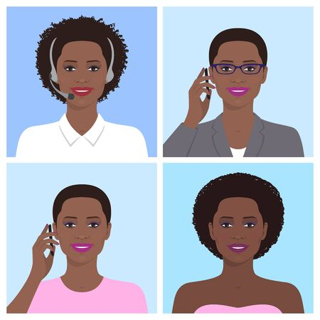 woman cellphone: Vector avatar set. African american business woman with glasses, talking on the mobile phone. Call-operator in headsets. African attractive smiling girl talking on the telephone. Vector flat icons. Stock Photo