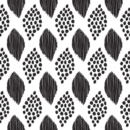 A Seamless pattern with abstract black leaves on the white background. May be used for textile, wallpaper, print, wrapping paper. Vector illustration.