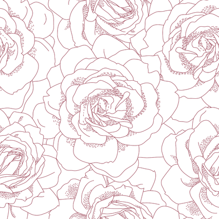 single flower: Floral seamless pattern. Beautiful roses background. Retro style contour drawn illustration. Design may be used for wallpaper, textile, wrapping paper, invitation and greeting cards.