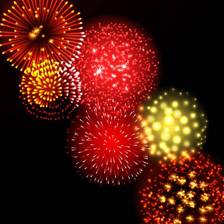 Festive colour firework background. Vector illustration for web design, banner, card, presentation or poster.