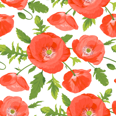 Seamless pattern with beautiful red poppies wreath. Vector illustration. Floral pattern.