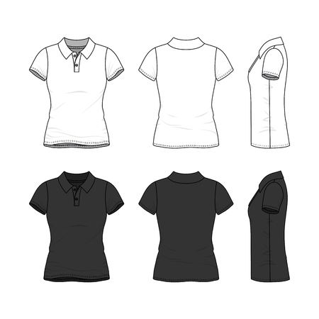 Female clothing set in white and black colors. Front, back and side views of polo shirt with short sleeves. Blank vector templates. Fashion illustration.