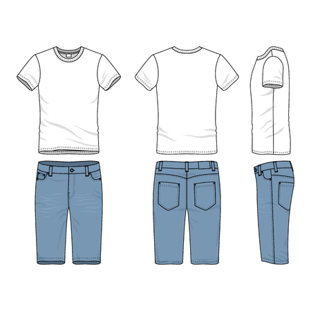 chinos: Blank vector templates of male t-shirt and jeans shorts. Clothing set in casual style. Fashion illustration. Illustration