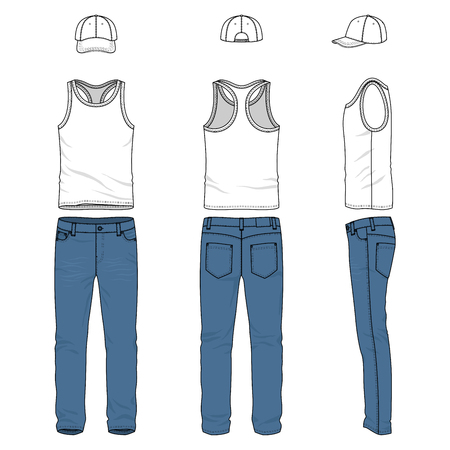 chinos: Front, back and side views of male clothing set. Blank vector templates of racer back vest, pants, baseball cap. Illustration