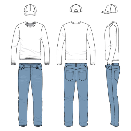 chinos: Front, back and side views of male wear. Blank vector templates of tee shirt, pants, baseball cap. Clothing set in casual style. Fashion illustration.