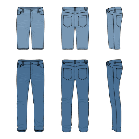 chinos: Blank vector templates of male jeans and shorts. Front, back and side views of denim pants. Clothing set in casual style. Fashion illustration.