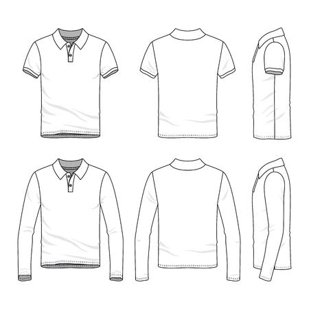 Golf polo shirts with short and long sleeves. Front, back and side views of male clothing set. Blank vector templates in casual style. Fashion illustration. Standard-Bild