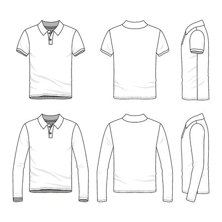 Golf-Polo-Shirts mit kurzen und langen Ärmeln. Front-, Rück- und Seitenansichten der männlichen Kleidung. Leere Vektorvorlagen im zufälligen Stil. Modeillustration. Standard-Bild - 80090076