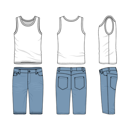 chinos: Front, back and side views of male clothing set. Blank vector templates of vest, pants. Stock Photo