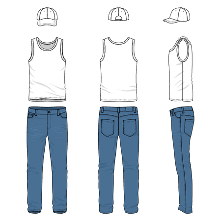 chinos: Front, back and side views of male clothing set. Blank vector templates of racer back vest, pants, baseball cap. Stock Photo