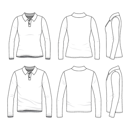 Front-, Rück- und Seitenansicht des Kleidungssatzes. Leere Vektorvorlagen von männlichen und weiblichen Poloshirts mit langen Ärmeln. Modeillustration. Line-Art-Design. Standard-Bild - 80090080