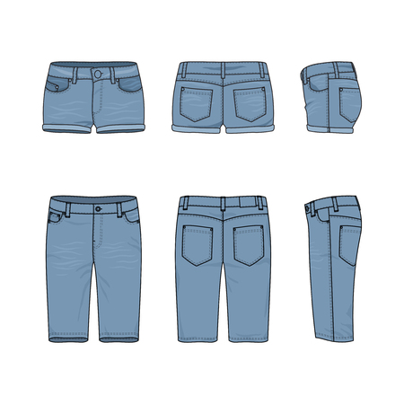 chinos: Blank vector templates of male and female jeans shorts. Front, back and side views of denim wear. Clothing set in casual style. Fashion illustration. Stock Photo